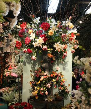 A large display at Pank Silk Flowers.