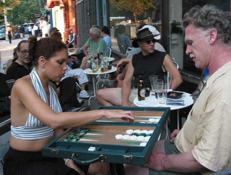 When the going gets tough, the tough play backgammon - West Broadway and White Street.