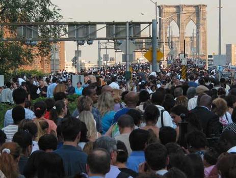 Mass exodus across the Brooklyn Bridge just after 5pm.