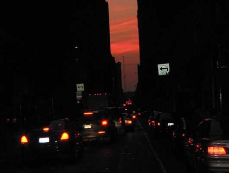 Traffic leading to the Lincoln tunnel at sunset.