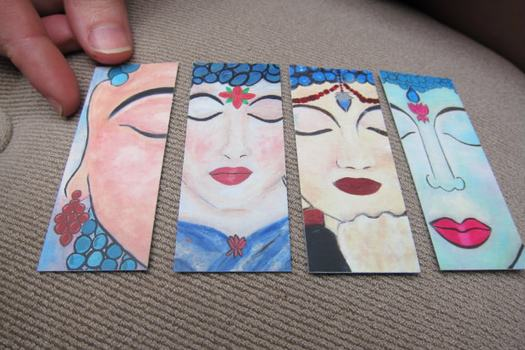 Art cards called Buddha-Ladies painted by Bowen. She said creating them has been helpful in her healing.