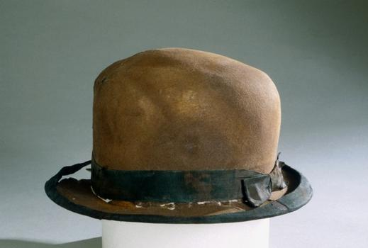 This brown bowler with its grosgrain ribbon was recovered from the wreck site in 1993. It's part of a single lot of 5,500 Titanic artifacts to be auctioned off at Guernsey's.