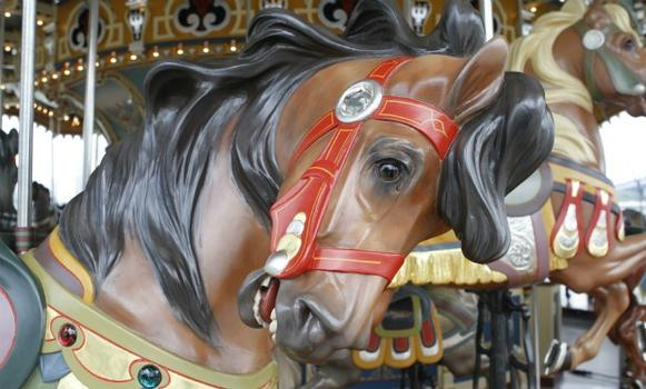 The horse's bridle was detailed by Mercedes-Benz detail workers. (The golden colored highlights are seen here.)