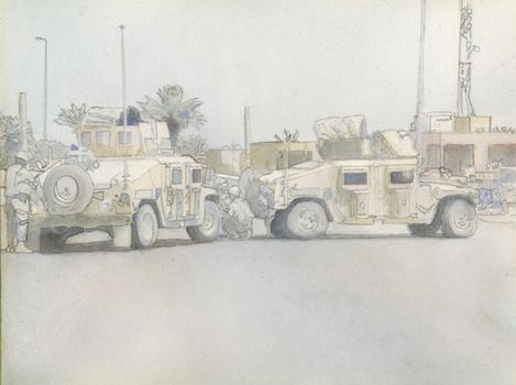 Pierce's watercolor of Wilkens' photo.