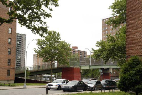 Bronxdale Houses abut the Bruckner Expressway