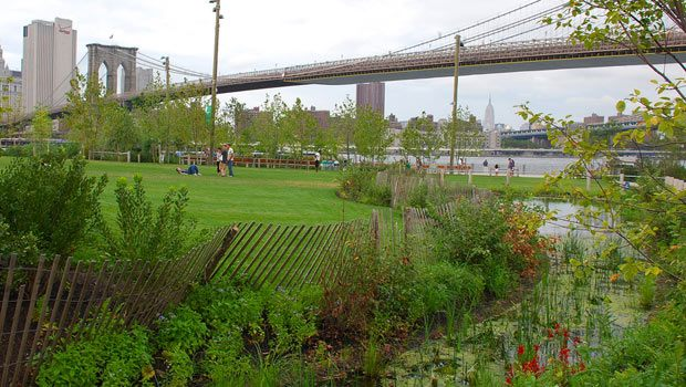 Brooklyn Bridge Park offers fantastic views of downtown Manhattan, the New York Harbor, and the Brooklyn Bridge... all from a picnic blanket!