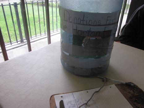 A donation box in the lobby, set up for Zurana's family