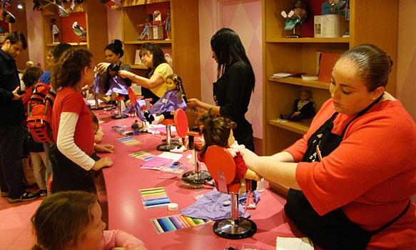 The Manhattan American Girl store has a salon where customers can have their dolls' hair brushed, combed and set.