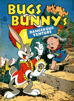 "The cover of a ""Bugs Bunny's Dangerous Venture"" comic from 1946. Penciled and inked by Carl Buettner."