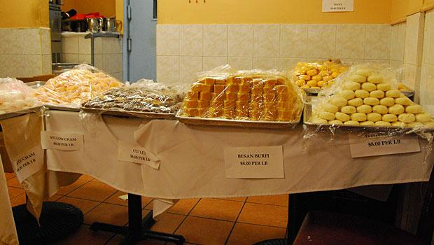 All sweets -- like these cham cham and burfi -- are priced by the pound.