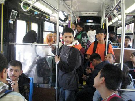 Hundreds of students ride the bus