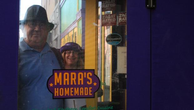 David and Mara Levi in the entrance of Mara's Homemade.