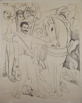 Diego Rivera. Cartoon for Agrarian Leader Zapata. 1931.