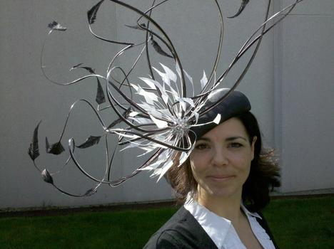 Another angle of the black-and-white feathered hat.
