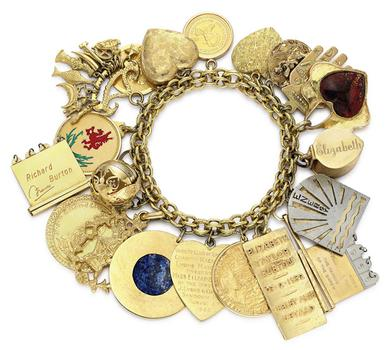 From her childhood through adulthood, Taylor collected charms for her many bracelets. This 20-charm gold bracelet is expected to sell for between $25,000 and $35,000.