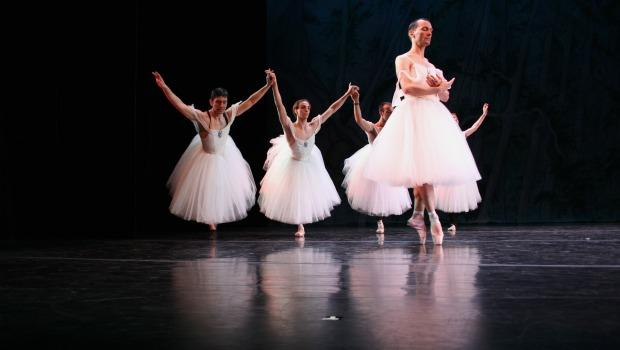 "The company of ""Les Ballets de Trockadero de Monte Carlo"" in rehearsal at the Joyce Theater."