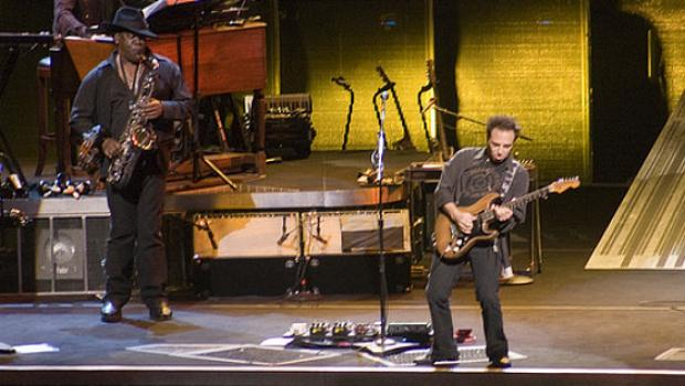 The Big Man playing onstage with the guitarist who tours with the Boss and the E Street band, Nils Lofgren, in 2008.