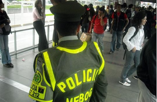 The Transmilenio police force. Four attacks have occurred in 10 years.