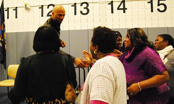 On his way out, Common shook some hands of teachers.