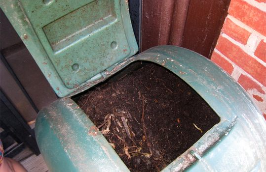Inside the composter, food scraps break down into crumbly compost.