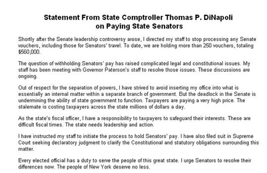 DiNapoli statement on paying state senators