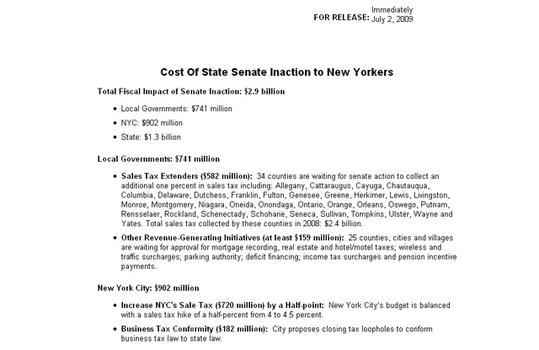 DiNapoli fact sheet on costs of Senate inaction