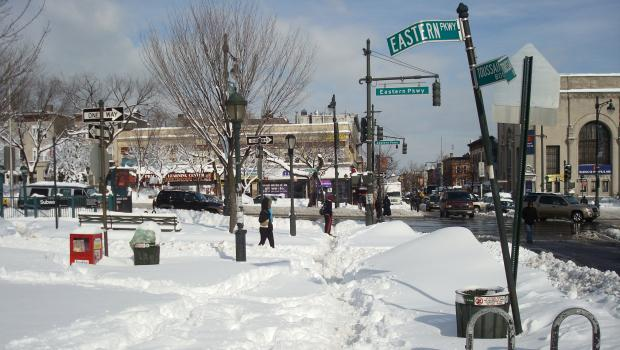 Snowy sidewalks at Eastern Parkway and Nostrand in Crown Heights, Brooklyn on January 27.