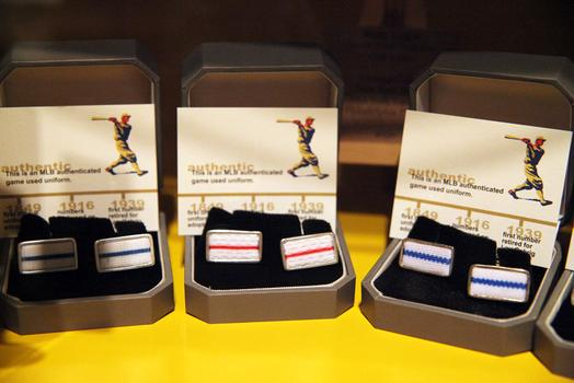 Cufflinks at Bergino are fashioned out of bleacher seats and vintage MLB uniforms.