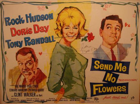 "A Doris Day poster for her 1964 movie ""Send Me No Flowers"" with Rock Hudson and Tony Randall"