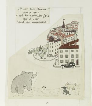 Jean de Brunhoff (1899–1937) Dummy with illustration for Histoire de Babar, le petit éléphant