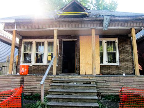 A Southwest Detroit property marked for demolition.