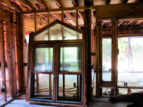 A photo of a window, its frame and casing after it's been removed the Franklin, Michigan property