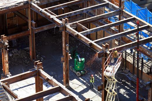 Demolition at the Deutsche Bank building in lower Manhattan.