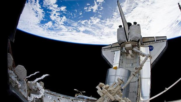 The STS-131 crew snapped this image of space shuttle Discovery docked at the International Space Station.