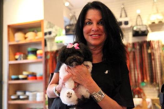 Debbie Melman and her puppy Mimi Jouet at Canine Styles.