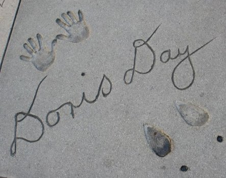 Day's hands and high heels are captured here in cement.