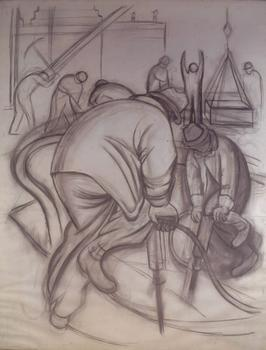 Diego Rivera. Pneumatic Drill (cartoon for Pneumatic Drilling). 1931.