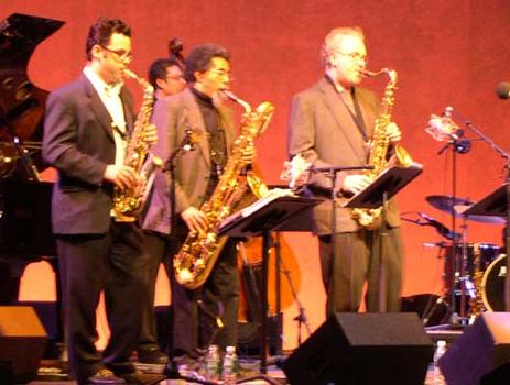 <strong>Members of E/O Jeremy Udden, alto sax; Kurtis Rivers, baritone sax; Russ Gerson, founder of the E/O and tenor sax; (back row) Rick McLaughlin, bass, 11/12/04.</strong>