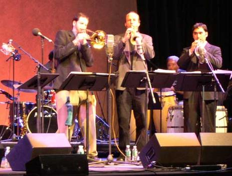 <strong> Members of E/O Joel Yennior, trombone; Tom Halter, trumpet; Colin Fisher, trumpet; (back row) Fransisco Mela, drums; Vicente Lebron, congas and perc.  WFC, 11/12/04. </strong>