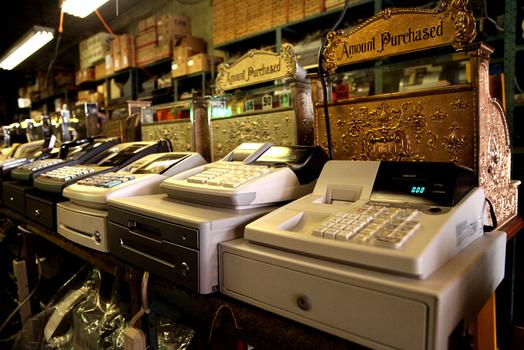 Faerman sells some new electronic cash registers as well as vintage machines.