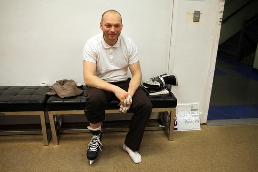 Elmar Cellermayer trying on his skates after they were baked.