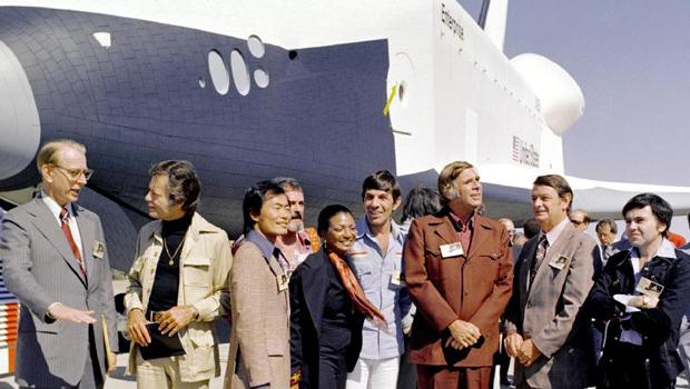 In 1976, NASA's space shuttle Enterprise rolls out of the Palmdale manufacturing facilities and is greeted by NASA officials and cast members from the 'Star Trek' television series.