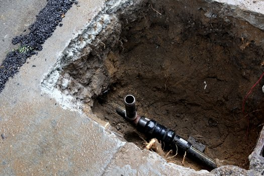 An exposed gas pipe in Harlem.