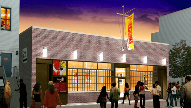 Architectural rendering of the exterior of the Pregones Theatre in the South Bronx