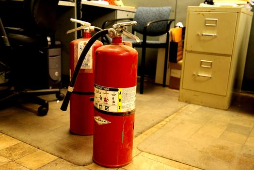 Extinguishers dominate the floorspace at Master FIre Prevention.