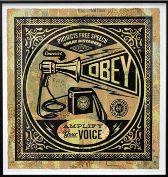 "Shepard Fairey's ""Obey Megaphone Collage"" sold for over $14,000."
