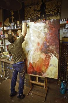 "Here, the artist works on ""Harmony."""
