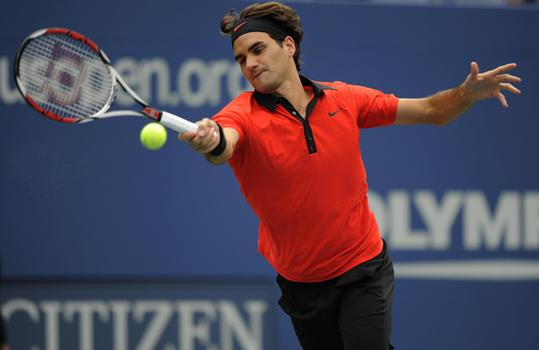 Roger Federer against Devin Britton during their 1st round.