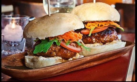 Longga sliders with 'bagoong' mayonnaise