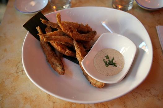 Fried smelt fish, an appetizer at Maharlika.